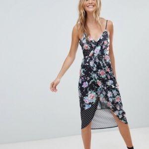 ASOS Mixed Floral Polka Dot Print Midi Wrap Dress